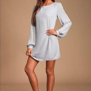 Light grey long sleeve shift dress